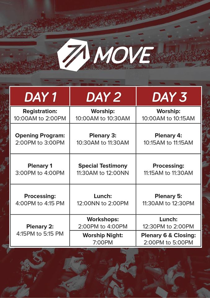 Move Youth Discipleship Conference Schedule