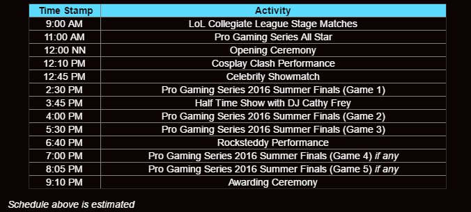 Rampage 2016 Event Schedule Image DAGeeks
