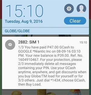 Pokemon Go Globe GCash Purchase Text Confirmation Image DAGeeks