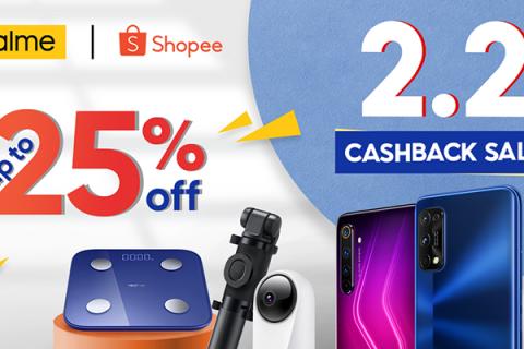 realme Shopee 2.2 Cashback Sale Header Image
