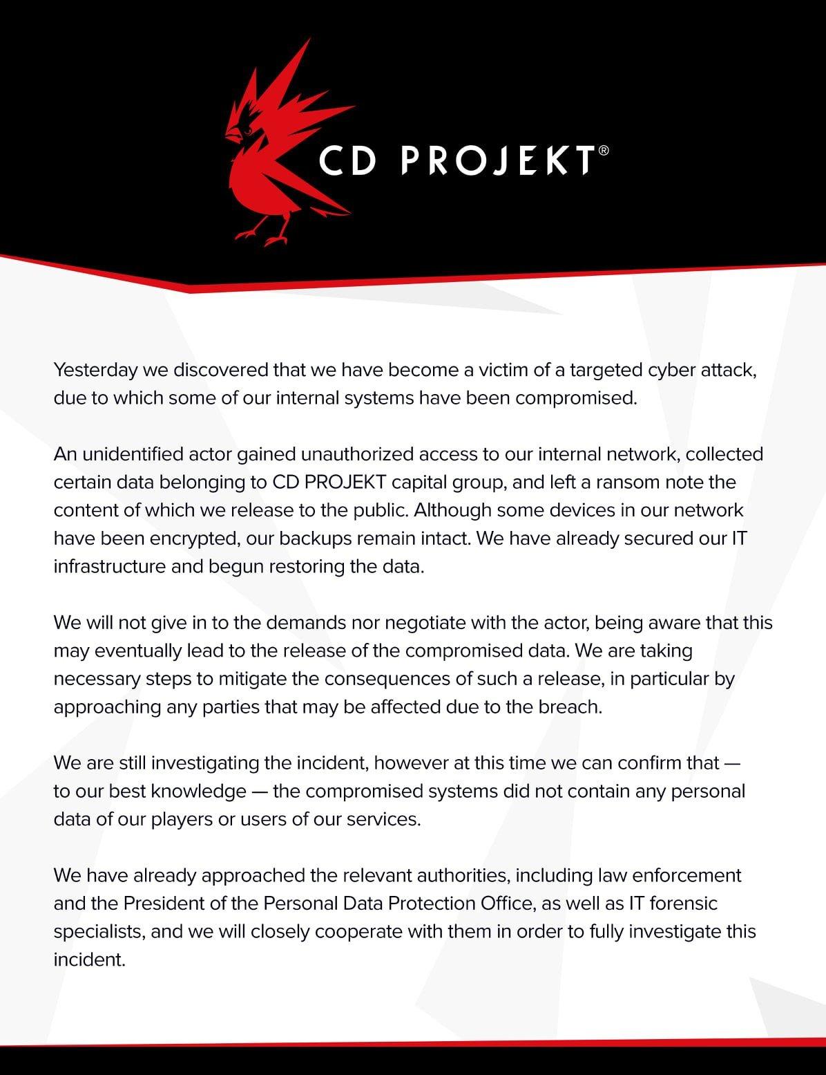 CDPR 2021 Cyber Attack Statement